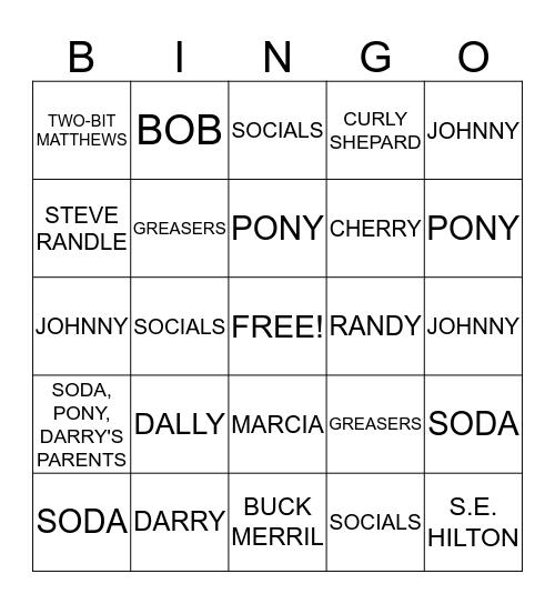 The Outsiders  Bingo Card