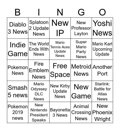 Nintendo Direct Bingo  Bingo Card