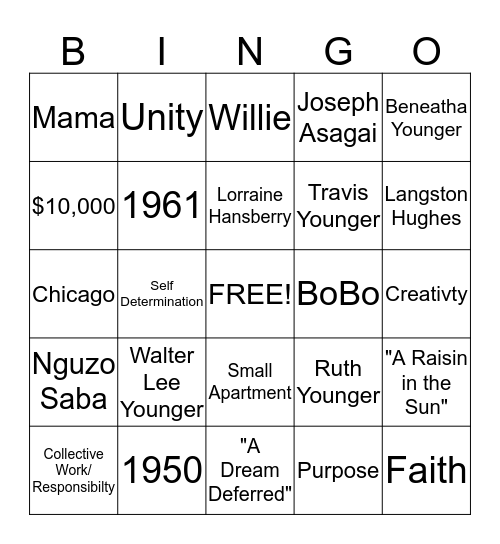 The Youngers Bingo Card