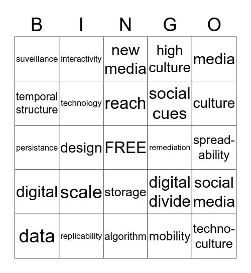 New Media Vocab Bingo Card