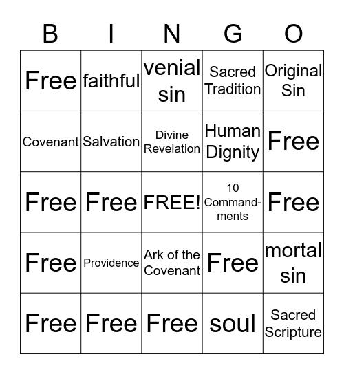 Faith Word Bingo Gr. 4  1-4 Bingo Card