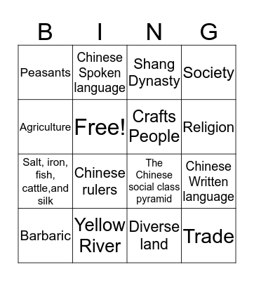 Ancient China Civilization Bingo Card