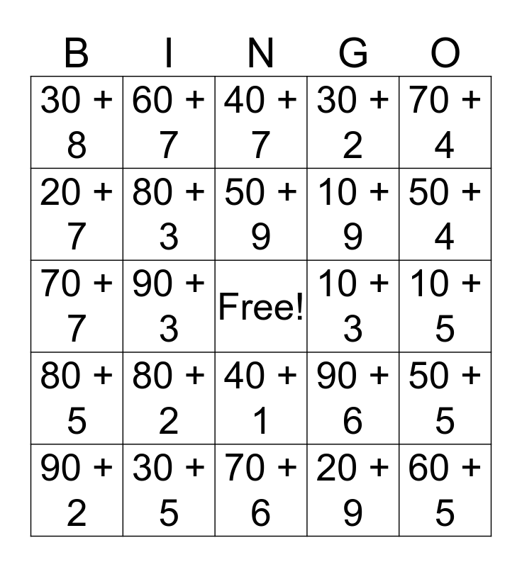 Expanded Form Bingo Card