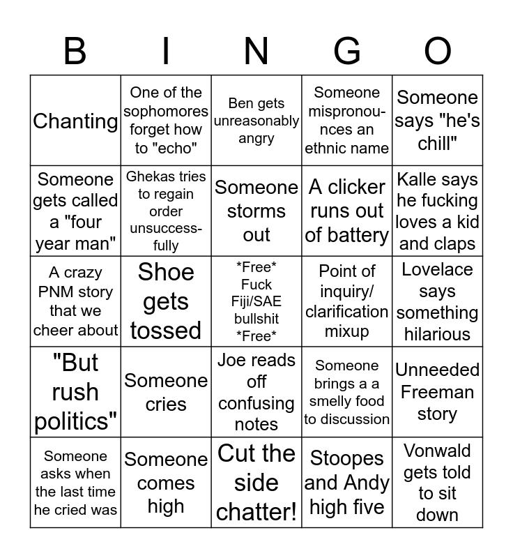 Bid Discussion Bingo Card