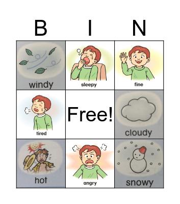 Weather + Emotions Bingo Card