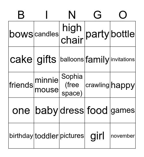 1st Birthday Bingo Card