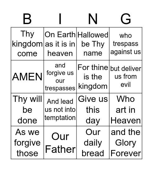 The Lord's Prayer BINGO Card