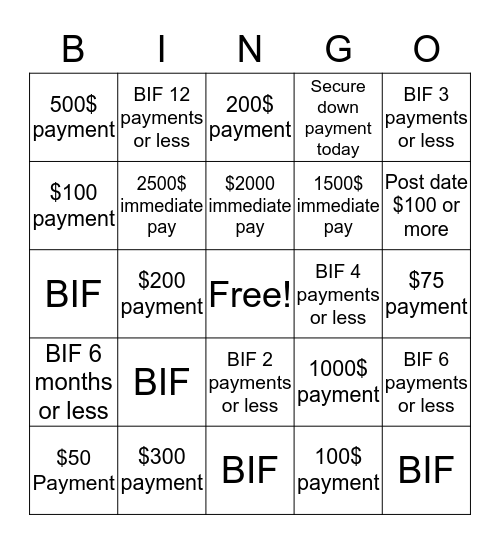 SCSI Bingo Card