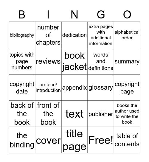 Parts of a Book Bingo Card