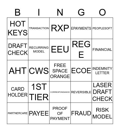 FISERV BINGO  Bingo Card