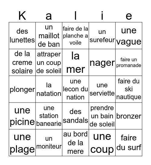 French Bingo Card