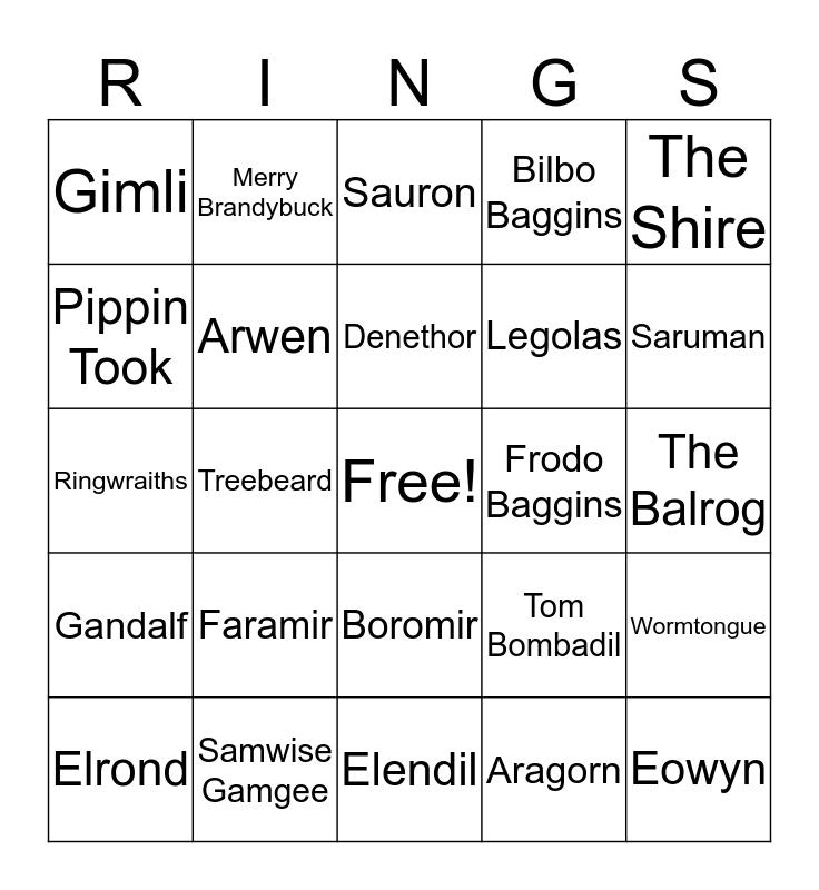 Lord of the RINGS Bingo Card