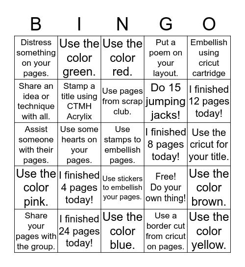 Scrapbook Bingo Card