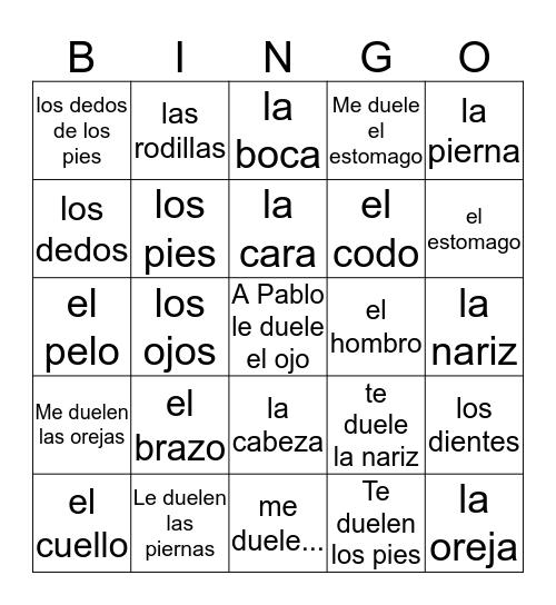 cuerpo 4to grado Bingo Card