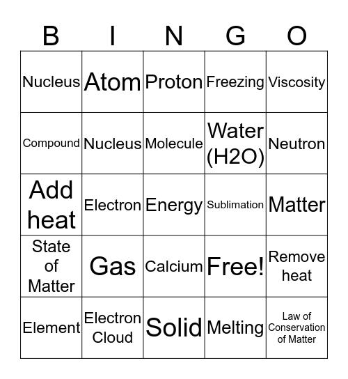 Chemistry Bingo 7th Grade Bingo Card