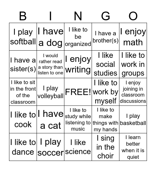 Getting to Know Me & My Style Bingo Card
