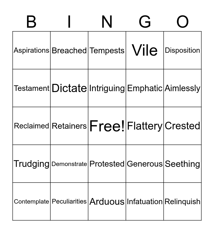 The Language of Thorns Bingo Card