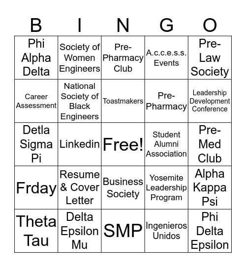 ProFRESH Bingo Card