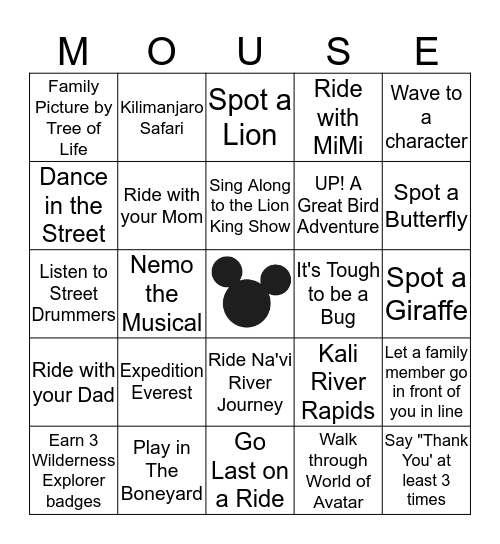 Disney's Animal Kingdom Bingo Card