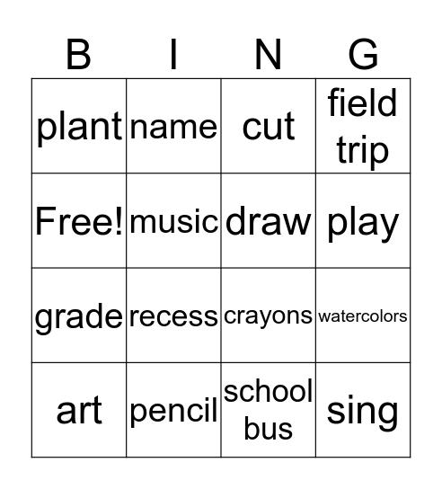 My School Bingo Card