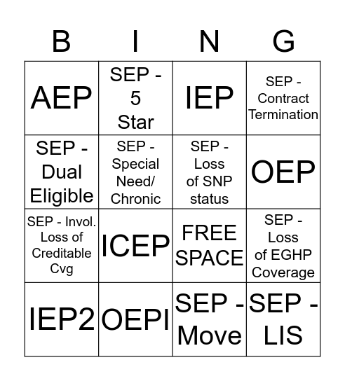Election Period Bingo Card
