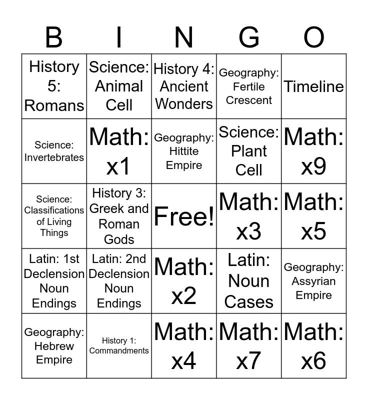 Classical Conversations Bingo Card