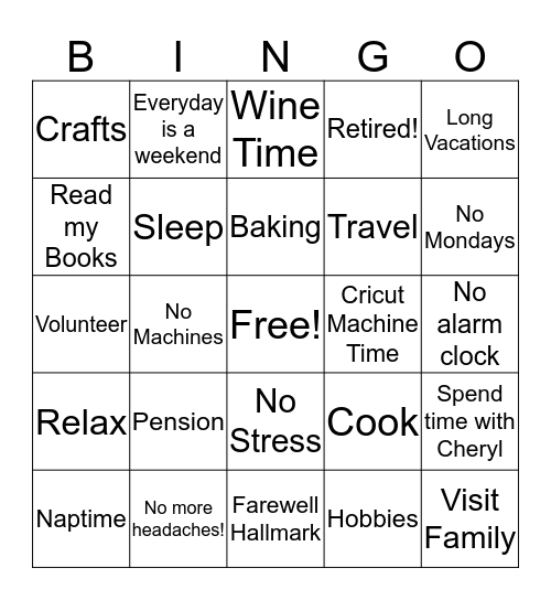 Lynda's Retired! Bingo Card