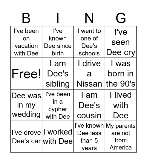 Dee's Birthday Brunch Bacchanal Bingo Card
