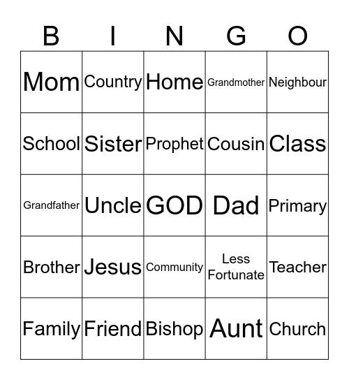 Who Can We Serve? Bingo Card