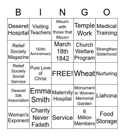 Relief Society Birthday Bingo Card