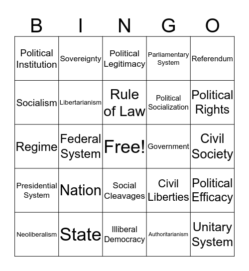 Comp Gov Bingo Card