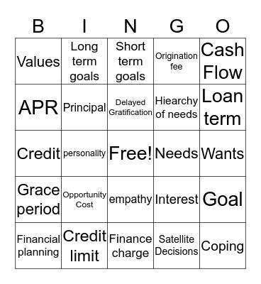 Money, money, money! Bingo Card