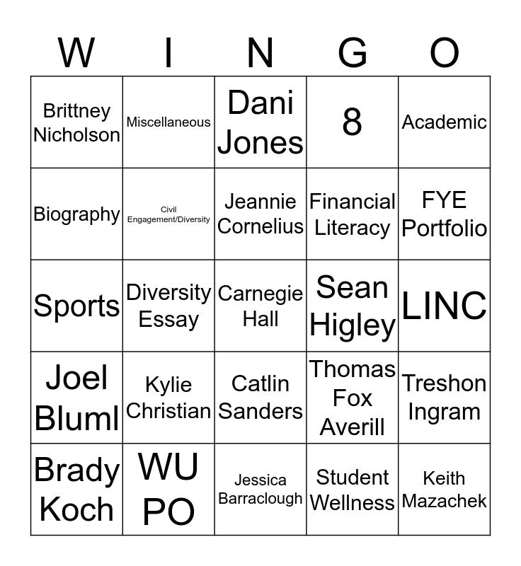 Test Your Washburn Knowledge Bingo Card