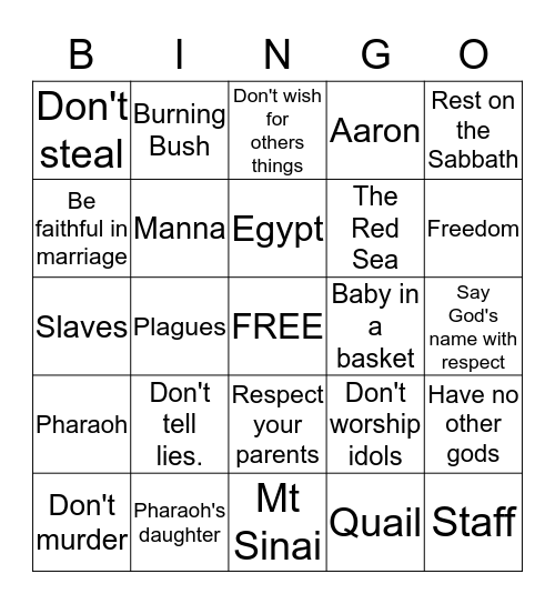 Moses Bingo Card