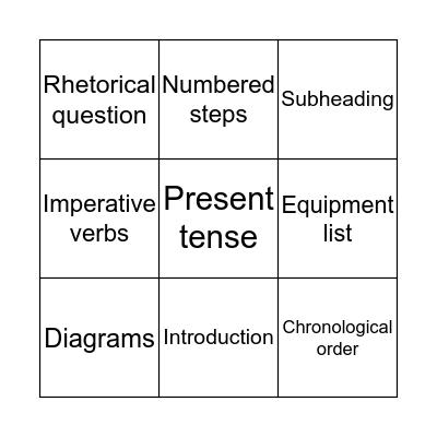 Instruction Features Bingo! Bingo Card