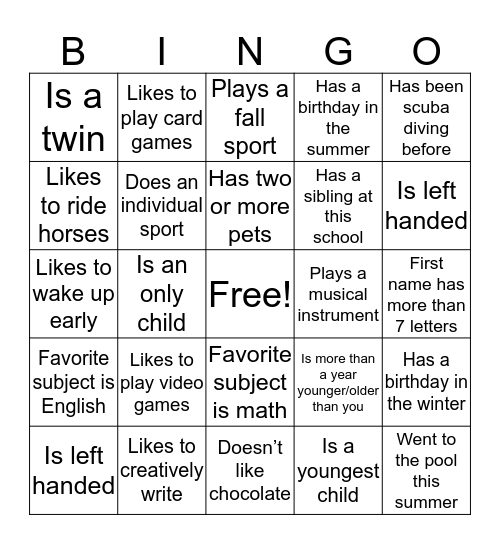 Find a person that... Bingo Card