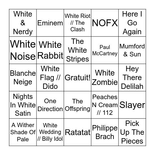Blanc Bingo Card