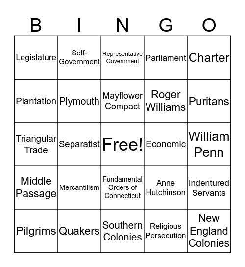 U.S. History  Bingo Card