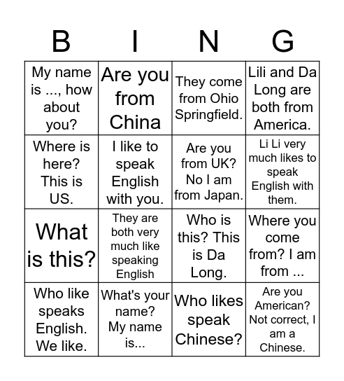 Sapling 1 L2 Sentences Practice Bingo Card