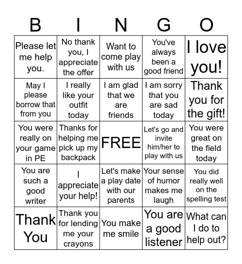 Kind Words for Friends Bingo Card