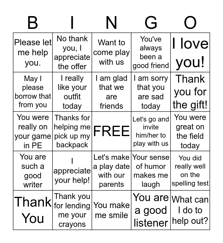 Kind Words for Friends Bingo Card