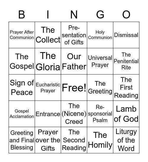 Parts of the Mass Bingo Card