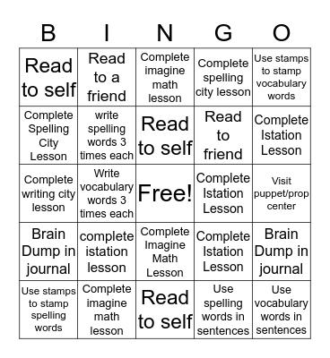 RTI-Time Bingo Card