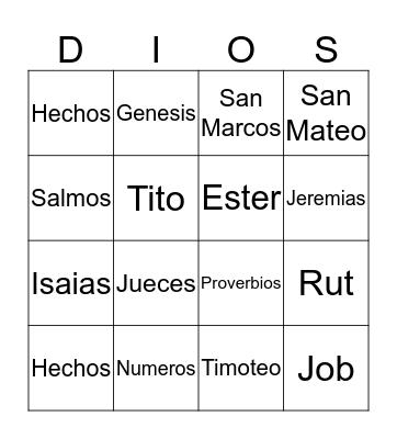 Biblia Bingo Card