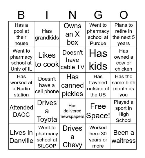 Pharmacy Bingo Card