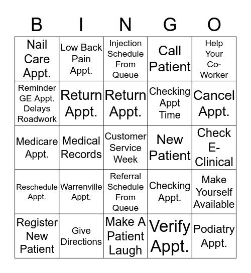 Fill My Bucket Bingo Card
