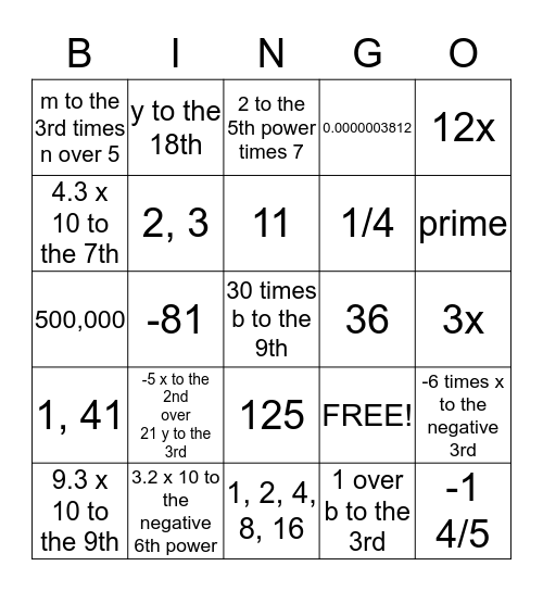 Pre-Algebra Chapter 4 Bingo Card