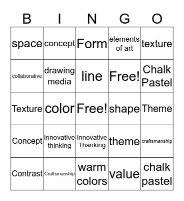 Art Bingo (Elements/Sq1art) Bingo Card