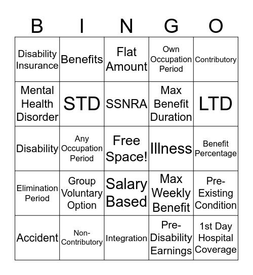 Disabililty Insurance  Bingo Card