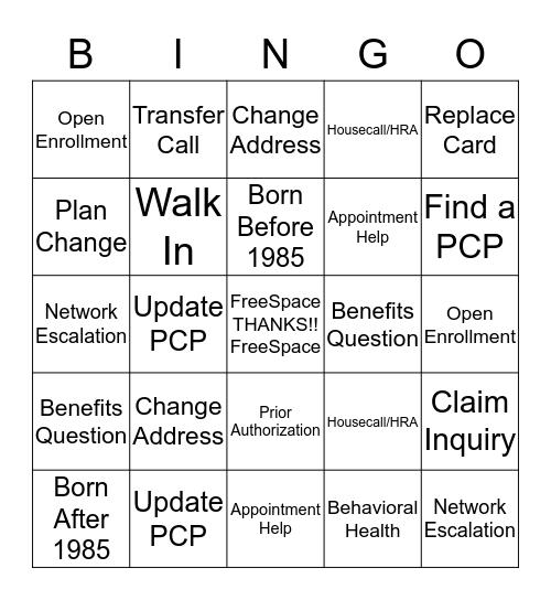 UHC Appreciates You-INGO Bingo Card